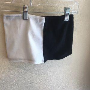 Tops - Half black half white tube top